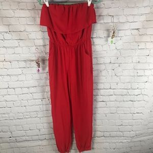OOTD Red Strapless Jumpsuit Size S